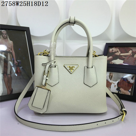 2015 Spring Summer Prada Small Saffiano Double Tote BN2758 in White