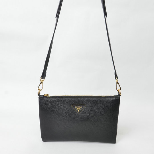 2015 Cheap Prada Grainy Calf Leather Shoulder Bag BT0997 in Black