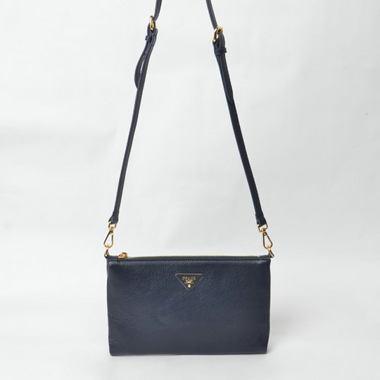 2015 Cheap Prada Grainy Calf Leather Shoulder Bag BT0997 in Navy Blue