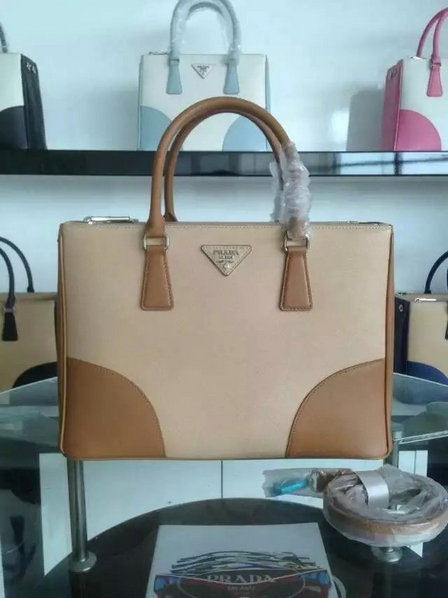 2015 F/W Prada Saffiano Leather Tote Bag B2863K Beige+Caramel