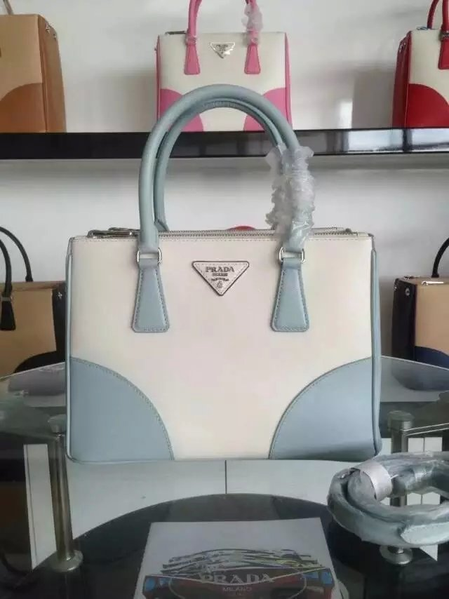 2015 F/W Prada Saffiano Leather Tote Bag B2863K White+Lake Blue
