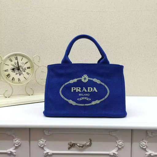 Classic Prada Canvas Tote Bag in Blue