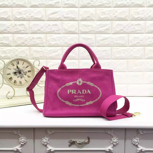 Classic Prada Canvas Tote Bag in Peony Pink