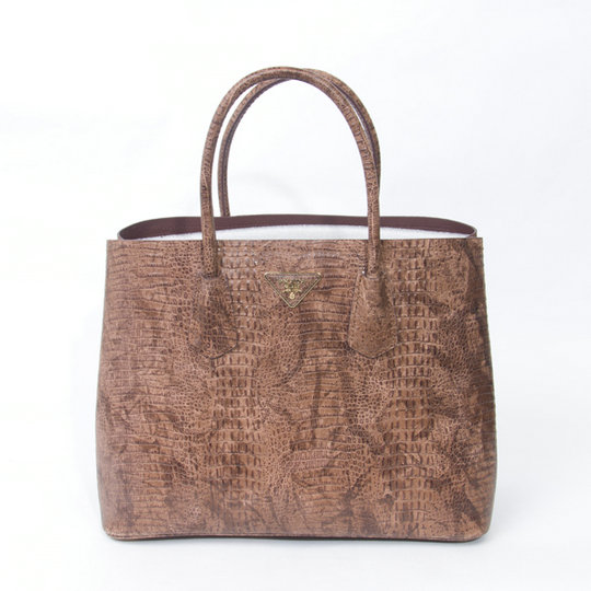 2015 Spring Prada Crocodile Leather Double Tote BN2761 in Brown