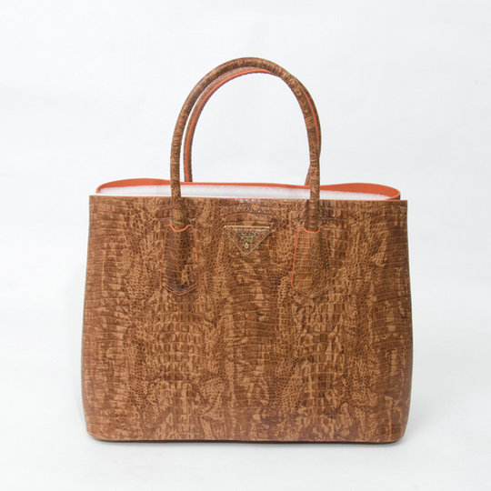 2015 Spring Prada Crocodile Leather Double Tote BN2761 in Camel