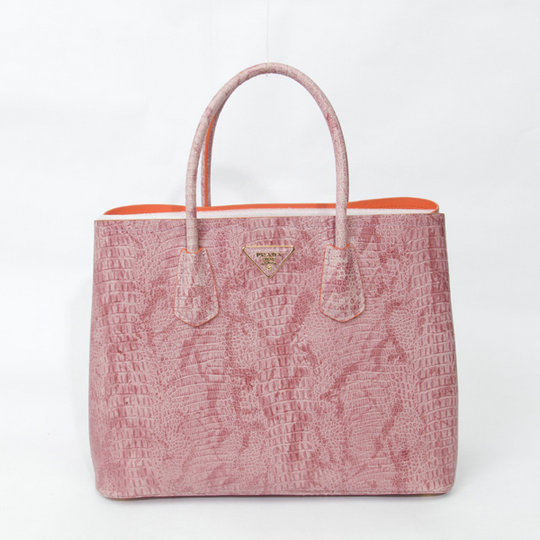 2015 Spring Prada Crocodile Leather Double Tote BN2761 in Pink