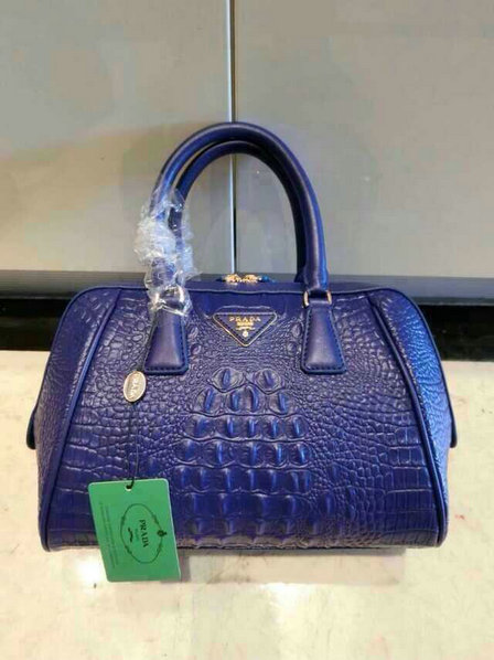 2015 New Prada Crocodile Leather Top Handle Bag in Blue