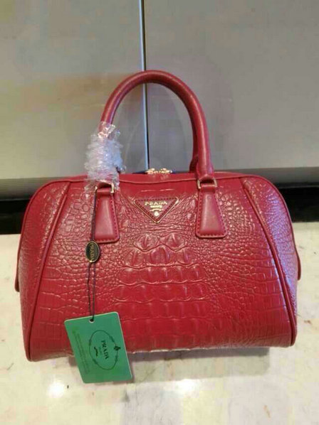 2015 New Prada Crocodile Leather Top Handle Bag in Burgundy