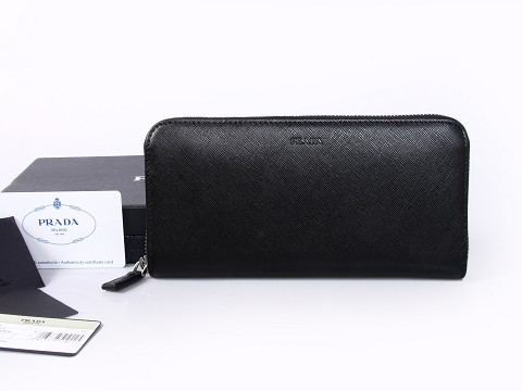 2015 Mens Prada Saffiano Leather Document Holder in Black