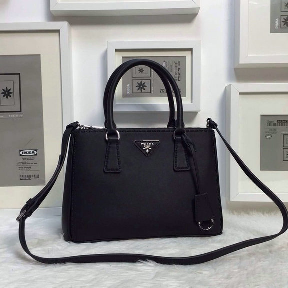 2015 Latest Prada Hand-stitched City Calf Leather Bag BN2863 in Black