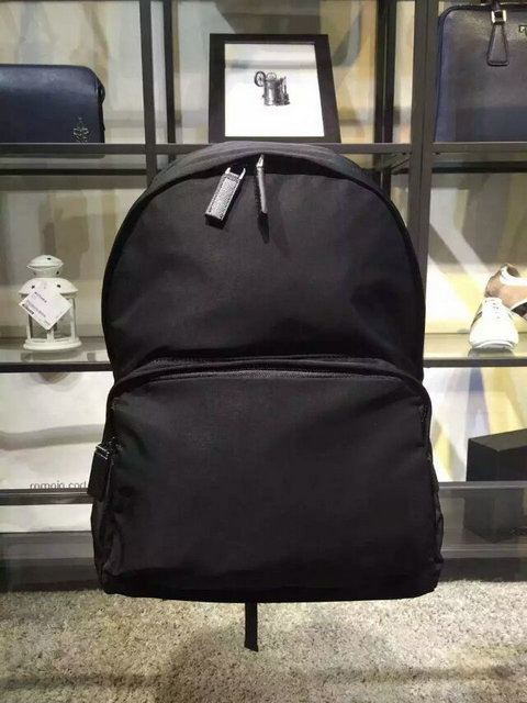 2015 Mens Prada Technical Fabric Backpack VA0066 Black with Saffiano Leather details