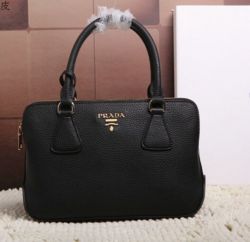2015 Latest Prada Grainy Leather Tote Bag 2803 in Black