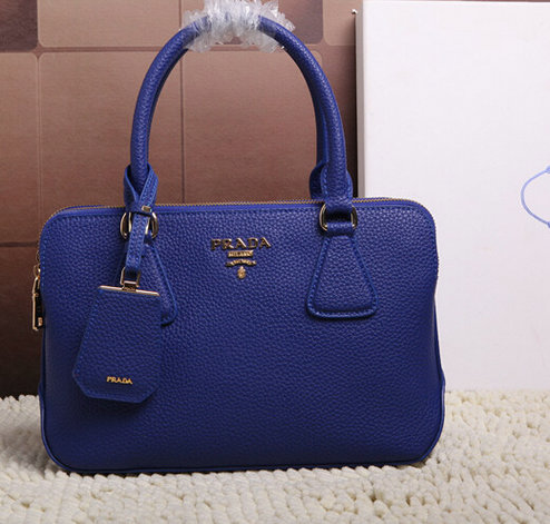 2015 Latest Prada Grainy Leather Tote Bag 2803 in Blue