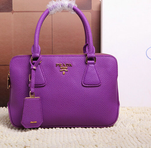 2015 Latest Prada Grainy Leather Tote Bag 2803 in Purple