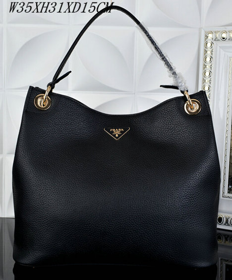 2015 S/S Prada Grained Calf Leather Hobo Bag BR5124 in Black