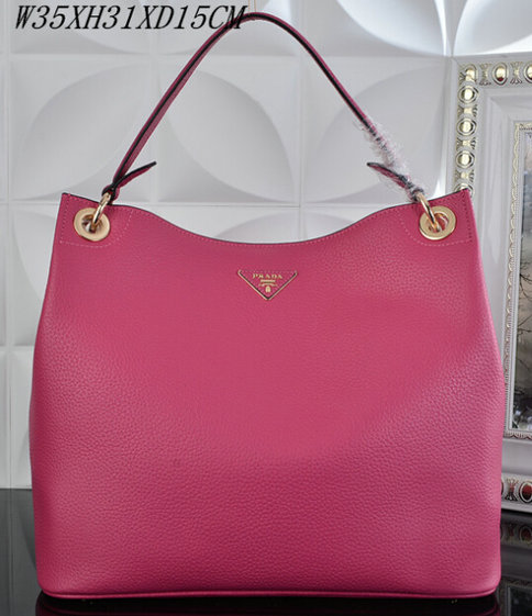 2015 S/S Prada Grained Calf Leather Hobo Bag BR5124 in Rose