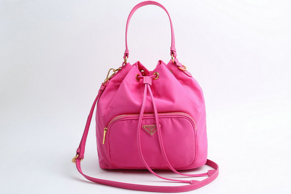 dc229c7427e7 2015 F W Prada Nylon Bucket Bag B0038E with saffiano wrist   shoulder strap  larger image