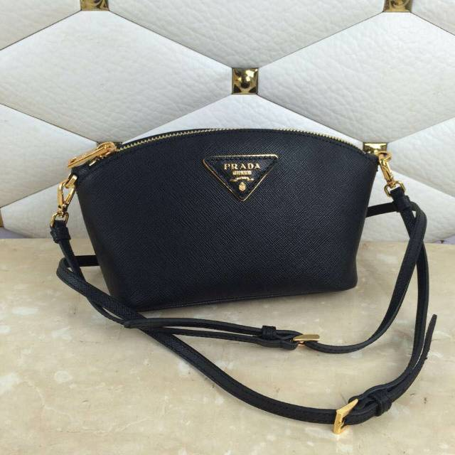 2015 F/W Prada Saffiano Cosmetic Pouch with wrist and shoulder strap