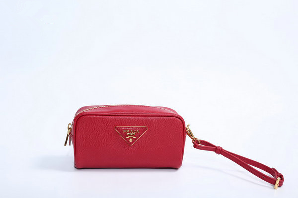 2015 F/W Prada Saffiano Cosmetic Pouch 1N1865 Red with wrist strap