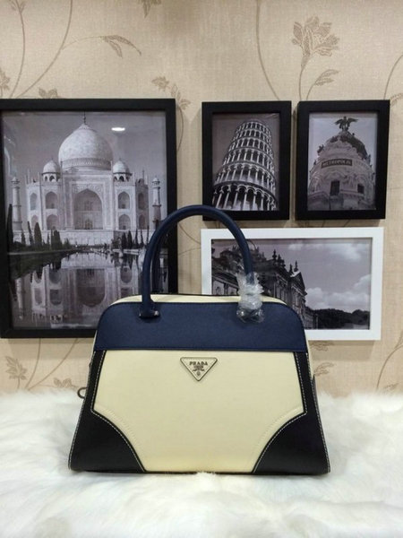 2015 Spring Prada Runway Top Handle Bag 1008 in Tricolor Saffiano & Calf Leather