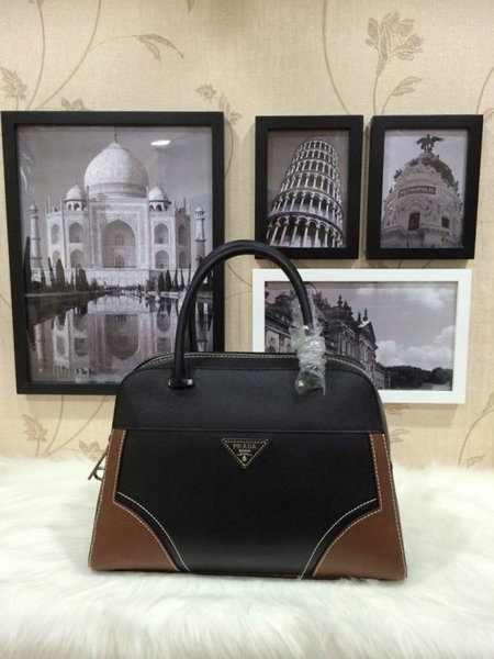 2015 Spring Prada Runway Top Handle Bag 1008 in Bicolor Saffiano & Calf Leather