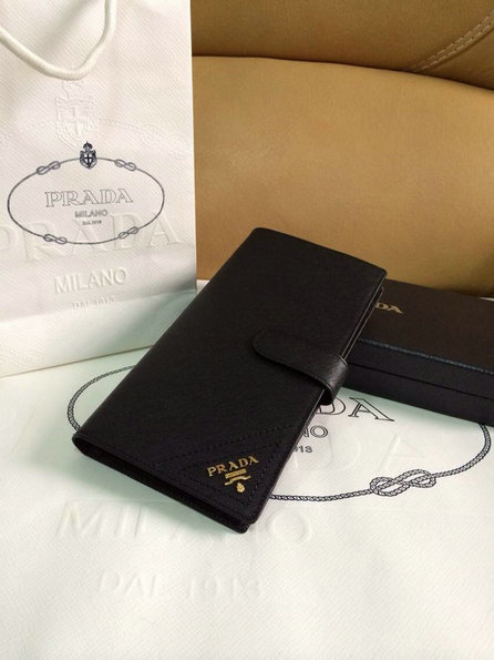 2015 Spring Prada Saffiano Leather Wallet 1M1116 Black with 47 Card Slots