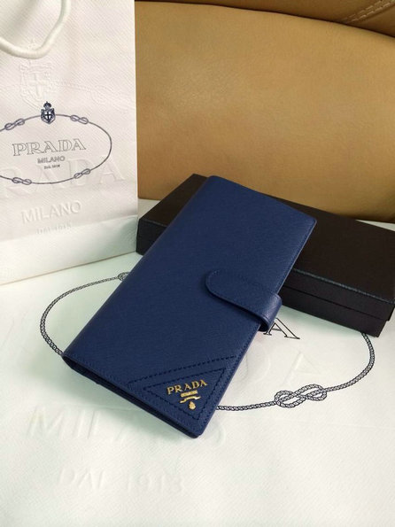 2015 Spring Prada Saffiano Leather Wallet 1M1116 Blue with 47 Card Slots