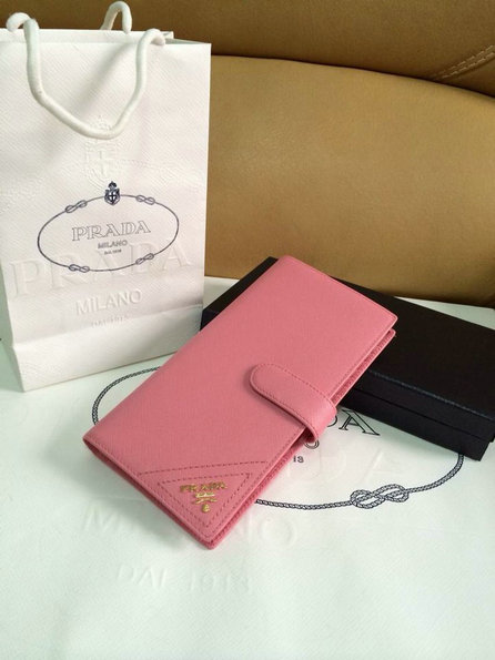 2015 Spring Prada Saffiano Leather Wallet 1M1116 Light Pink with 47 Card Slots