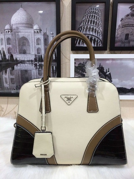 2015 Spring Prada Runway Tricolor Croc & Saffiano Leather Top Handle Bag 1009
