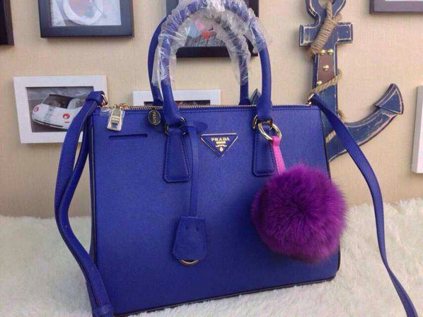 2015 S/S Prada Saffiano Tote Blue With Black Contrasting Trim