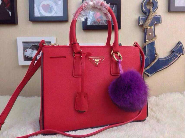 2015 S/S Prada Saffiano Tote Red With Black Contrasting Trim
