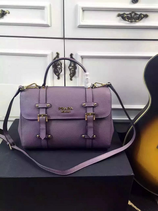 2015 Cheap Prada Small Grain Leather Satchel Bag in Lavender
