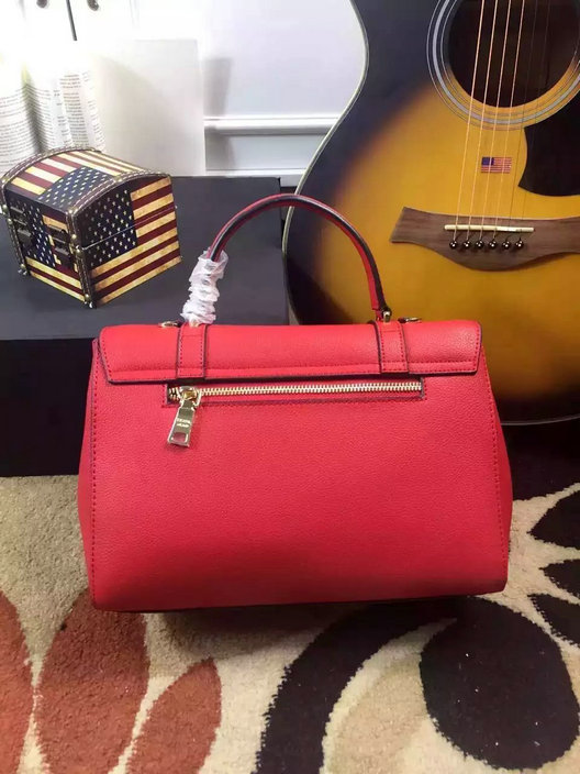 2015 Cheap Prada Small Grain Leather Satchel Bag in Red