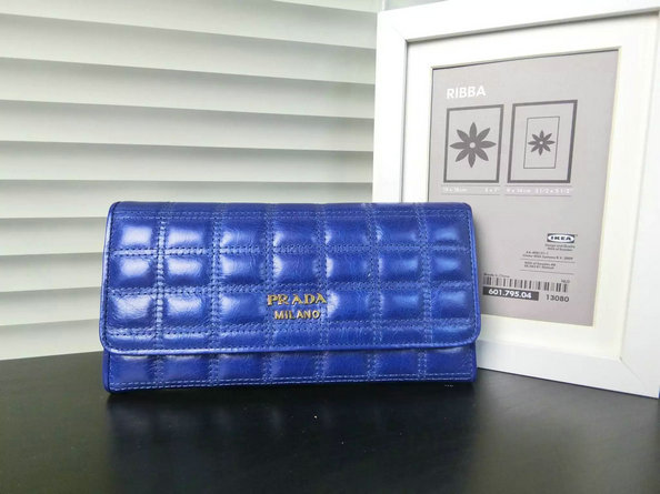 2015 Fall/Winter Prada Shiny Calf Leather Flap Wallet Blue