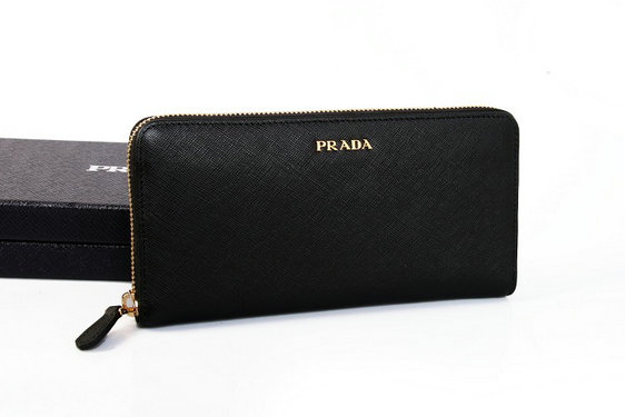 2015 New Prada Saffiano Leather Zip Wallet 1M0506B in Black