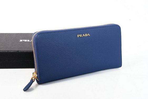 2015 New Prada Saffiano Leather Zip Wallet 1M0506B in Blue