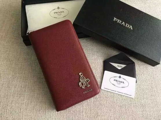 "-2015 Men's Prada Saffiano Document Holder Burgundy with ""Porter"" Metal Detail"