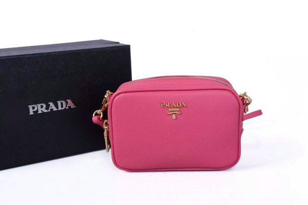 2015 New Prada Saffiano Leather Cosmetic Pouch with shoulder strap
