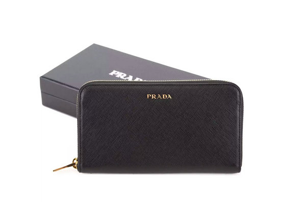 2015 F/W Prada Saffiano Zip Around Wallet 1M0506 with bicolor lining