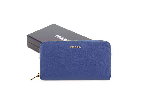 2015 F/W Prada Saffiano Zip Around Wallet 1M0506 Blue with bicolor lining
