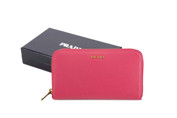2015 F/W Prada Saffiano Zip Around Wallet 1M0506 Peony Pink with bicolor lining