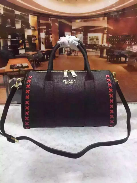 2015 A/W Prada Leather Bowling Bag Black with embroidery details