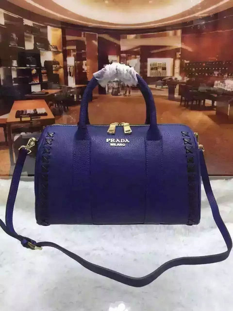 2015 A/W Prada Leather Bowling Bag Blue with embroidery details