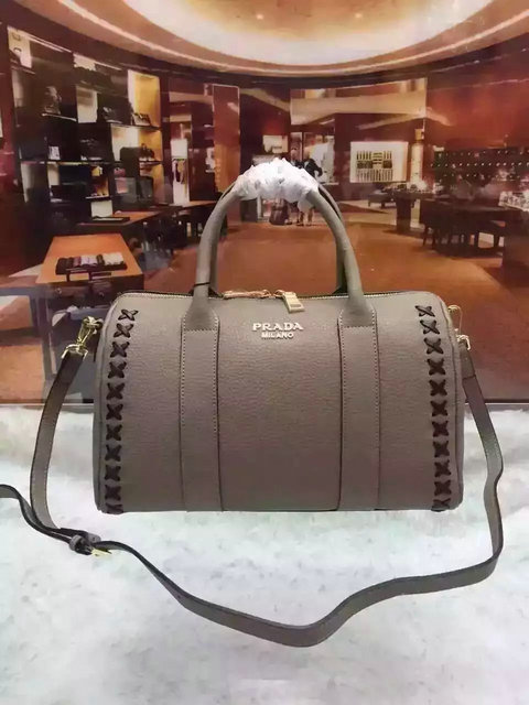 2015 A/W Prada Leather Bowling Bag Grey with embroidery details