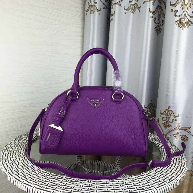 2015 Autumn/Winter Prada Calf Leather Bowling Bag in Purple