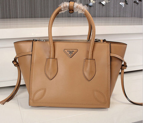2015 Cheap Prada City Sport Leather Tote Bag Brown