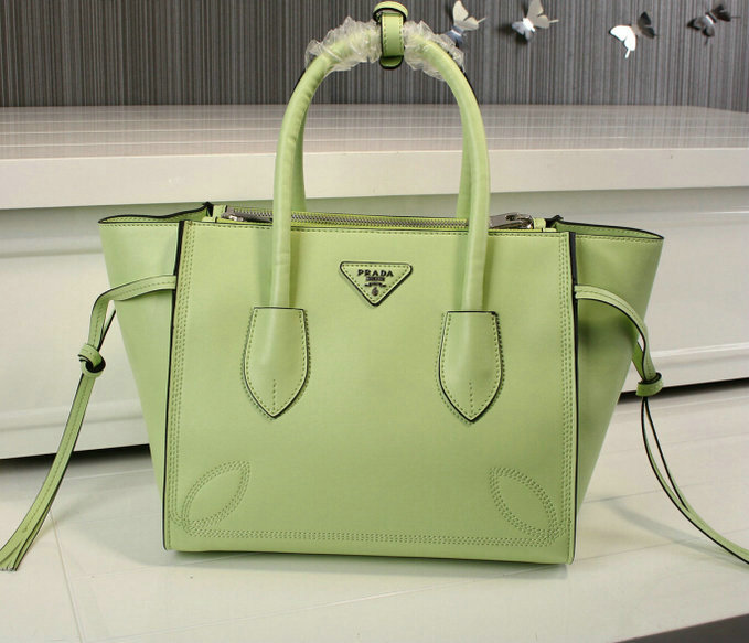 2015 Cheap Prada City Sport Leather Tote Bag Green