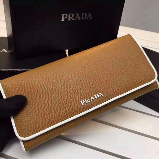 2016 S/S Prada Leather Flap Wallet Cinnamon with Chalk White Saffiano leather piping