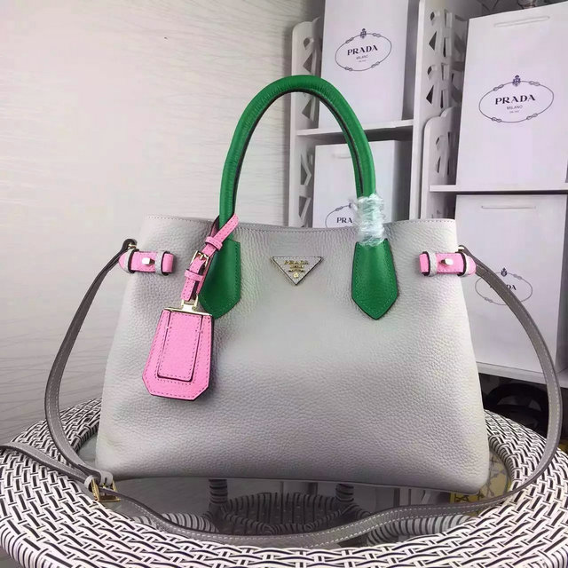 2015 Latest Prada Tricolor Grainy Calf Leather Tote Bag Sale Online
