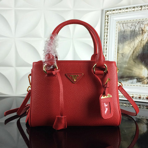 2015 A/W Prada Grainy Leather Tote BN2963 in Red